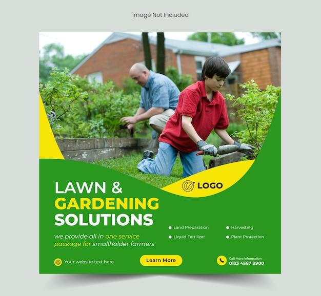 Soluções para jardins de gramado ou post de mídia social para serviços agrícolas e modelo de banner da web