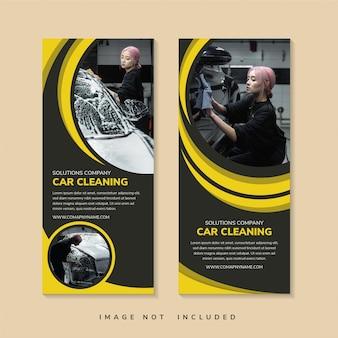 Soluções que limpam o título da empresa de modelo de design de banner de enrolar usando layout vertical escuro