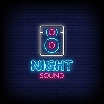 Som noite sinais de néon estilo texto