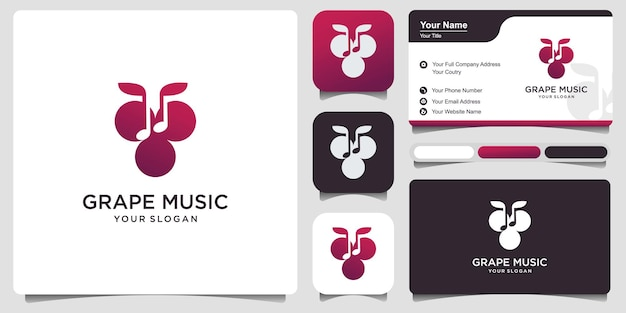 Som ou música do logotipo do ícone do vinho com cartão de visita. ilustração do logotipo do ícone de uva