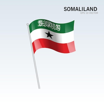Somalilândia agitando bandeira isolada em cinza