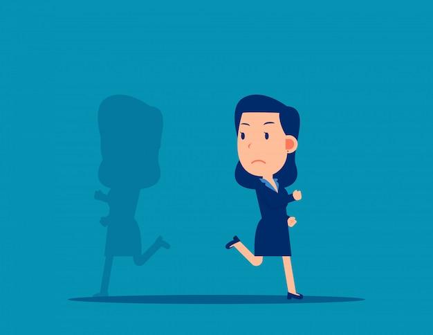 Sombra correndo de maneira diferente. conceito de direção de negócios. design de estilo dos desenhos animados