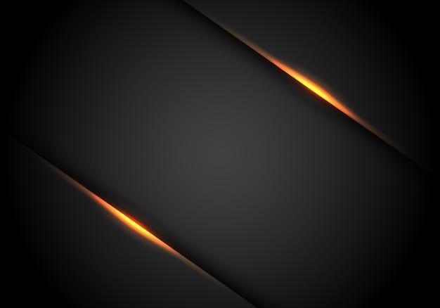 Sombra da linha clara amarela no fundo preto do espaço vazio.