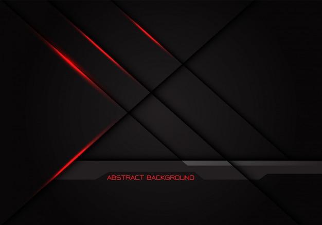 Sombra da linha transversal da luz vermelha no fundo cinzento escuro.