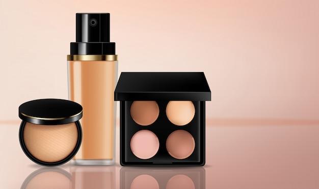 Sombra de cosméticos e coleção de fundação