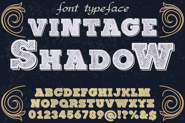 Sombra de desenho de fonte de alfabeto vintage