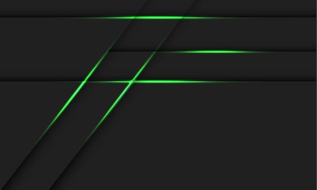 Sombra de linha de luz verde abstrata na ilustração de fundo de tecnologia futurista moderna design cinza escuro.