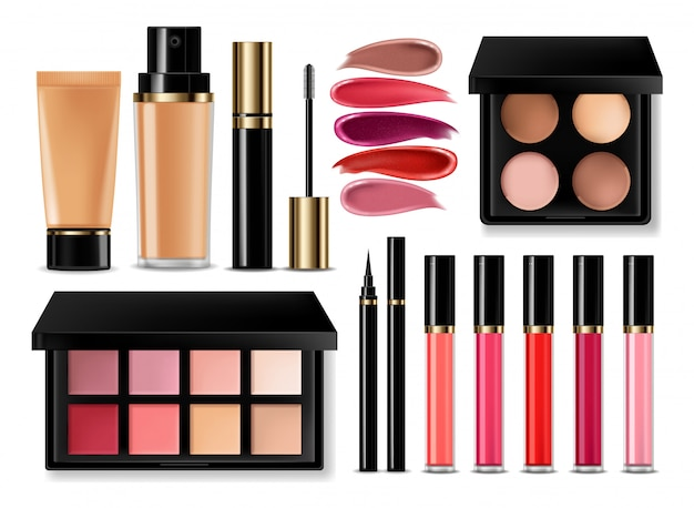 Sombra de olhos, brilho labial e coleção blush em pó