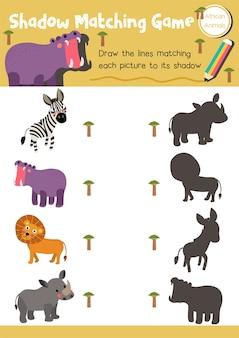 Sombra jogo de correspondência animal africano