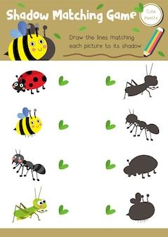 Sombra jogo de correspondência inseto bug animal
