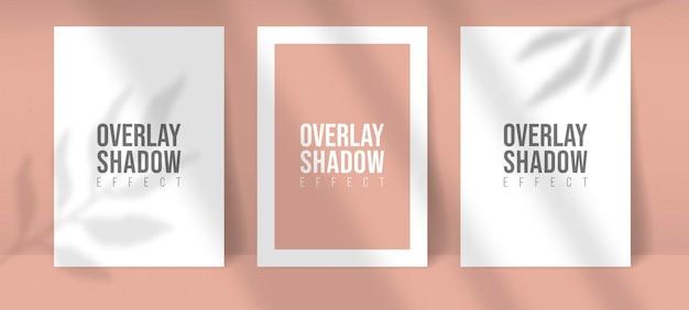 Sombra overlay plant vector mockup três folhas de papel a4. as sombras se sobrepõem aos efeitos de luz de folha e janela. estilo minimalista moderno. para apresentação, folheto, cartaz, em branco, logotipo, convite. cor editável