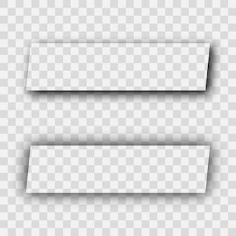 Sombra realista transparente escura. conjunto de dois retângulos com sombras de cantos arredondados isoladas em fundo transparente. ilustração vetorial.
