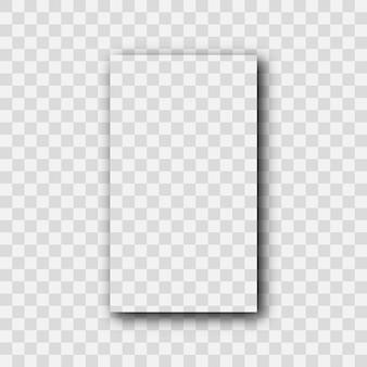 Sombra realista transparente escura. sombra de um retângulo vertical isolado em fundo transparente. ilustração vetorial.