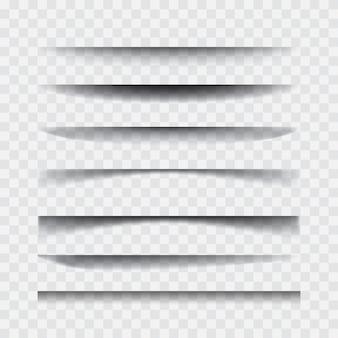 Sombras. conjunto de efeito de sombra transparente papel realista.