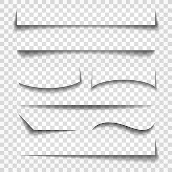 Sombras de elementos de folha de papel