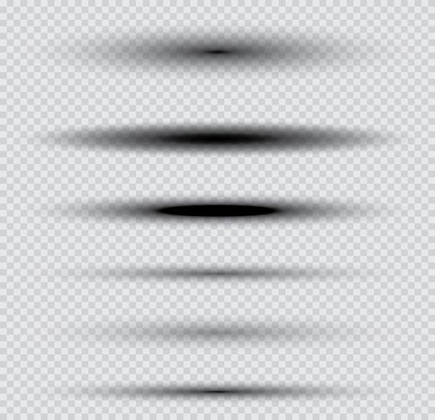 Sombras definidas em fundo transparente. ilustração vetorial.
