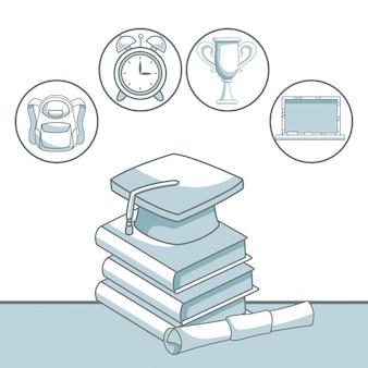 Sombreamento de silhueta de cor do livro de pilha com boné de graduação e certificado com ícones