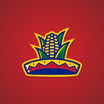 Sombrero, chapéu, milho, mexicano, restaurante, logotipo, adesivo, emblema