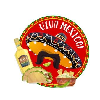 Sombrero mexicano e bigode, viva méxico
