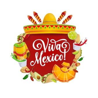 Sombrero mexicano, maracas de cinco de mayo e comida