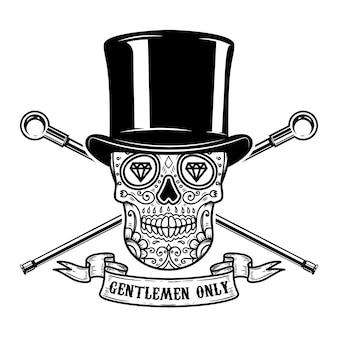 Somente cavalheiros. caveira mexicana de açúcar no chapéu vintage e bengalas cruzadas. imagem