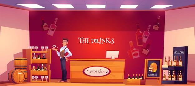 Sommelier na loja de vinhos, segurando um copo de vinho na mão
