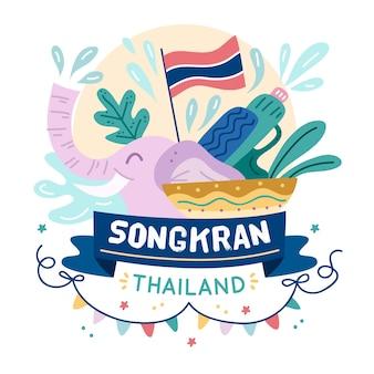 Songkran com bandeira e elefante