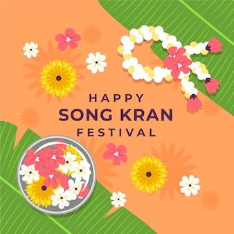 Songkran feliz com flores