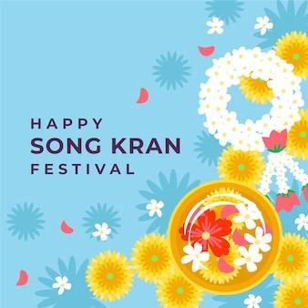 Songkran feliz floral