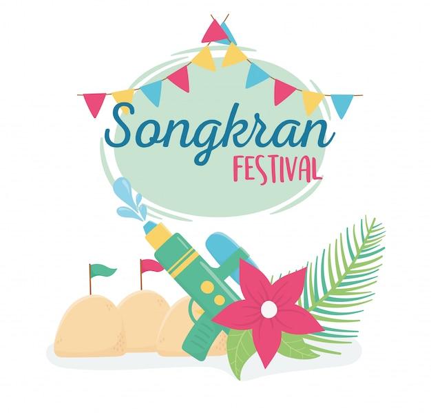 Songkran festival pistola de água flor bandeiras areia palácio