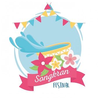 Songkran festival tigela de água flores bandeiras decoração