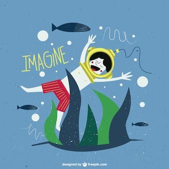 Sonhando na ilustração fundo do mar