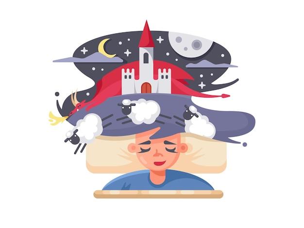 Sonho de conto de fadas de crianças com fabuloso castelo e dragão vermelho. ilustração vetorial Vetor Premium