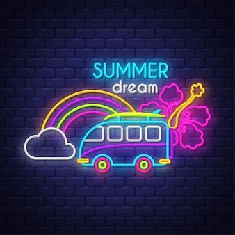 Sonho de verão. letras de sinal de néon