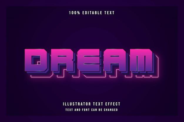 Sonho, efeito de texto 3d editável roxo gradação rosa estilo moderno sombra neon