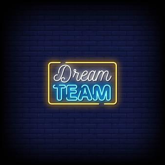 Sonho equipe sinais de néon estilo texto