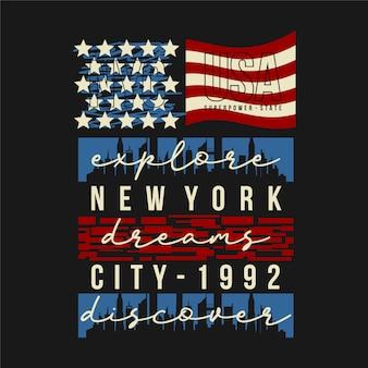 Sonhos de nova york com design gráfico de camiseta da bandeira dos eua