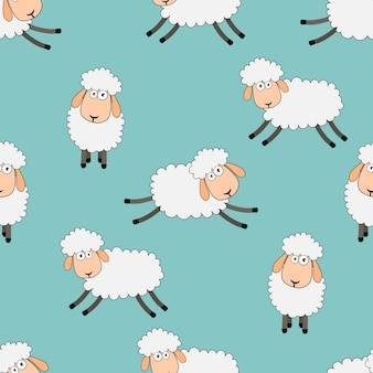 Sonhos doces sem costura ovelhas padrão animal engraçado