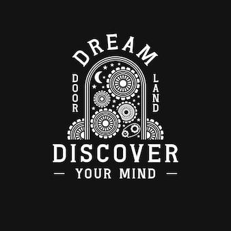 Sonhos porta mente trabalhando logotipo