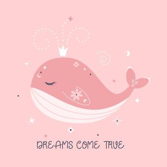 Sonhos se tornam realidade. ilustração de baleia rosa fofa