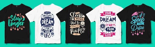 Sono criativo e sonho citações tipografia mão lettering t shirt designs pacote. citação de amante do sono