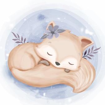Sono foxy do bebê que abraça a cauda