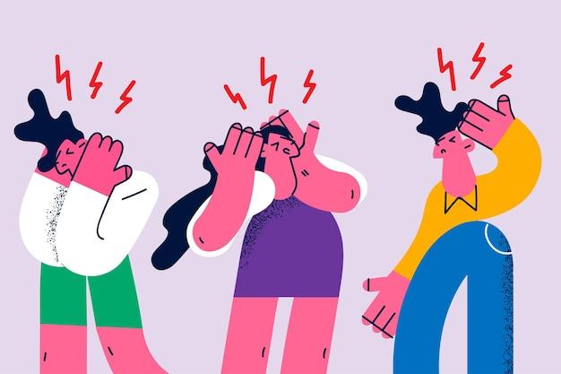 Sons altos, irritação, gritos e conceito de gritos. grupo de pessoas estressadas e irritadas, em pé, cobrindo os ouvidos de música alta ou voz juntos, ilustração vetorial