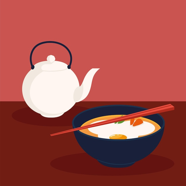 Sopa coreana e chaleira