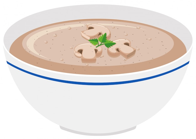 Sopa creme de cogumelos na tigela
