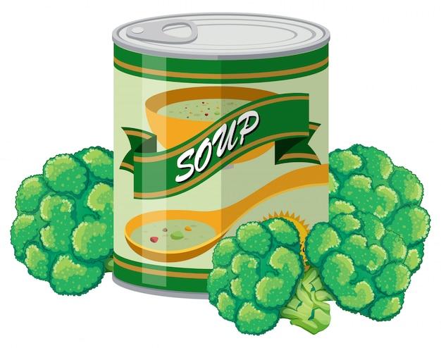 Sopa de brócolis em lata