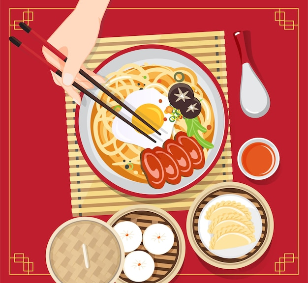 Sopa de chinês tradicional com macarrão, sopa de macarrão em tigela chinesa ilustração de comida asiática