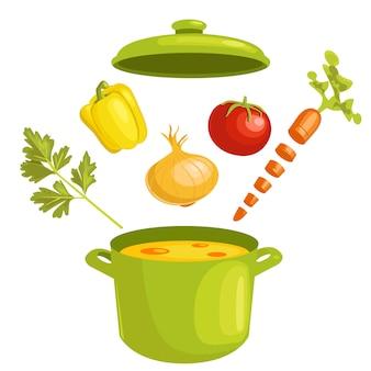 Sopa de legumes com ingredientes