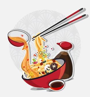 Sopa de macarrão asiática na tigela