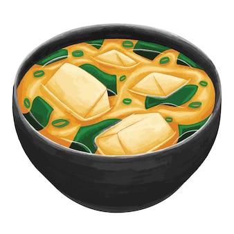Sopa de missô em estilo plano